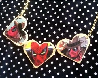 Comic Book Deadpool Heart Necklace