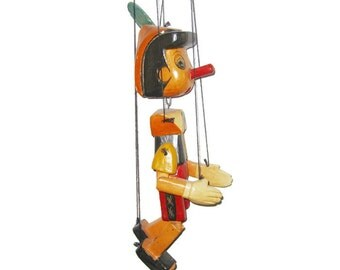 Rare Hand Carved Vintage  Wooden Pinocchio Marionette