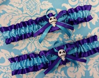 Skeleton  Wedding Garter set regal royal purple and turquoise blue garter set zombie
