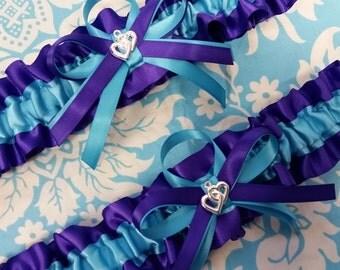 heart Wedding Garter set regal royal purple  and turquoise blue garter set, purple and blue garter