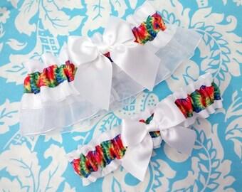 Tie dye wedding garter, rainbow garter set,  Hippie Wedding Garter, swirl garter, garter, satin rainbow garter
