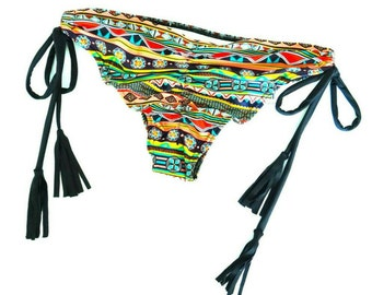 AZTEC Bikini Bottom with Fringe Tassles