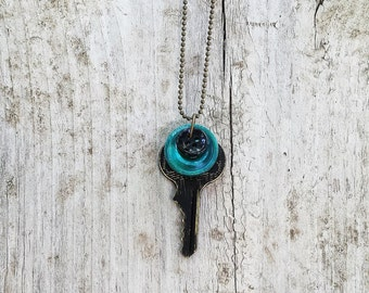 Vintage Key Necklace With Vintage Buttons Black Turquoise