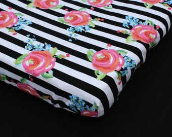 Changing Pad Cover in Hot Pink Watercolor Roses on Black and White Stripes - Nursery Bedding for the Modern Nursery with a Vintage Touch