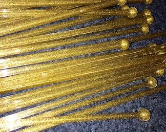 vintage set of 23 large gold glitter phastic swizzle sticks barware bar mixed drinks