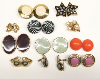 Vintage lot CLIP EARRINGS Collection - 11 Pairs