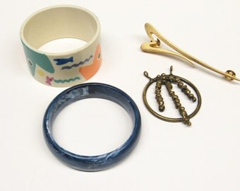 Vintage Jewelry Bracelet Bangle Fish, M Pin, Brass Pendant Collection