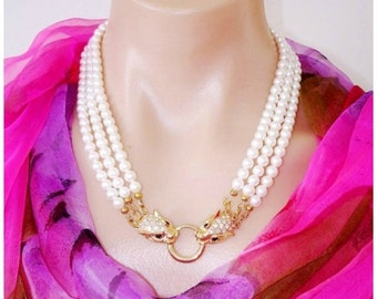 READY FOR SPRING Sale: Drama -  Ashira 3 Strand White Freshwater Pearl Statement Necklace with Stunning Panther and Swarovski Crystal Clasp