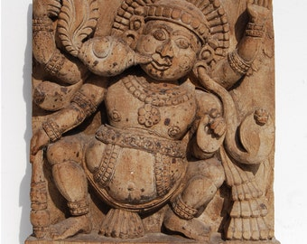 Antique BHUTA, Carved Wood Chariot Panel, Ratha India Hindu Temple Deity