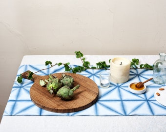 Indigo Itajime Shibori Triangles Table Runner
