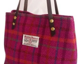 gift for her Harris tweed purse bag handbag pink wool woman girl gift tartan made in Scotland plaid Scottish