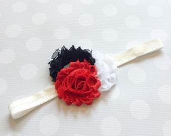 Red Black and White Headband