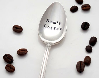 Mom's Coffee Stamped Teaspoon. Personalized Spoon with Name. The ORIGINAL Hand Stamped Vintage Coffee Spoons by Sycamore Hill.  Mom's Tea