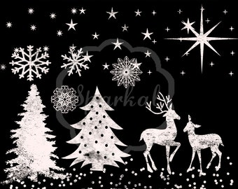Christmas Chalkboard Clipart, Great for Invitations Chalk board Clip Art, Snow, Deer, Christmas Tree, Star, Confetti 12 Elements In High Res