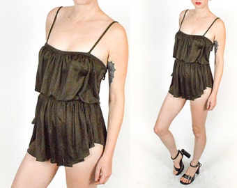 1970's BROWN GRECIAN Pleated SWIMSUIT Romper One Piece  With Fitted Shorts