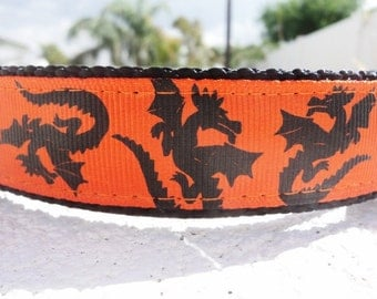 "Dog Collar Dragons 1"" wide Side Release buckle or Martingale collar adjustable"