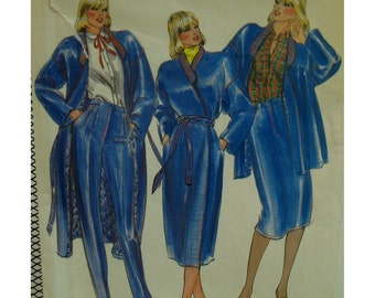 Daniel Hechter Wrap Coat Pattern, Lined, Shaped Band Collar, Dropped Shoulder, Straight Skirt, Pants, Butterick No. 3522 UNCUT Size 12
