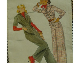 Shirt Waist Style Jumpsuit Pattern, Button Band, Patch Pockets, Pointed Collar, Long/Short Sleeves, Cuffs, Butterick No. 4396 Size 10