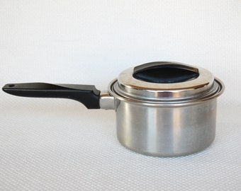 Vintage Ekco Flint 1 Quart Stainless Steel Saucepan and Cover Radiant Core Vintage Stainless Steel Small Saucepan