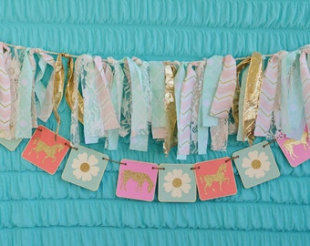 Horse banner, pony banner, horse garland, girls bedroom decoration, teal and gold, glitter horse, girl photo prop, girl party banner