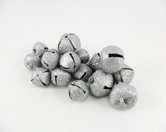 Jingle Bells Silver Glitter 18 Bells