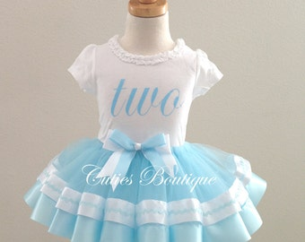 Blue Birthday Outfit first second birthday Birthday dress- All Sizes
