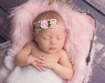 pink flower headband, skinny headband, bridal headband,newborn headband, photo prop, any size,lace headband