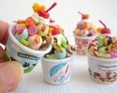 Miniature Ice Cream Tub - Fruit Ice Cream Parfait Sundae Doll Fake Food for 1/6 scale ~ 1/3 scale dolls (select size)