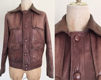 1970's Perfectly Worn Brown Leather Aviator Jacket Sz Small Medium by Maeberry Vintage