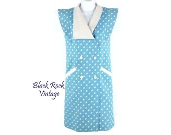 Sky Blue Polka Dot Dress, Vintage 1980s, Size XXS to XS, 30 Inch Chest, Twiggy Inspired