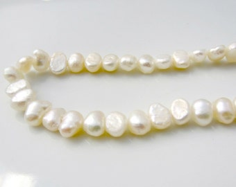 4.5-5mm Cream Pearls, Nugget Pearls, Off White Pearls, Freshwater Pearls, Side Drilled Pearl, Real Pearl, Genuine Pearl, Full Strand