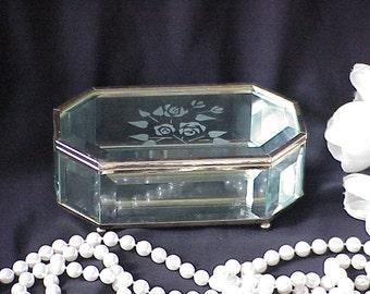 Vintage Beveled Glass Jewelry Trinket Box Etched Flowers