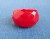 Red Bakelite Ring - Vintage Faceted Size 4