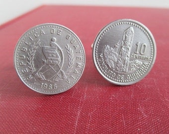 Guatemala Coin Cuff Links - Vintage Silver Tone Coins, Repurposed