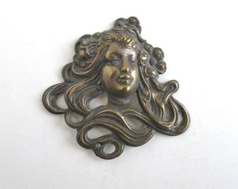 Antique Art Nouveau Finding - Beautiful Woman w/ Flowing Hair