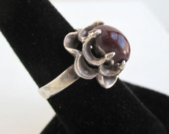 925 Sterling Silver Ring - Vintage Mexico, Eagle 2 Mark, Size 7
