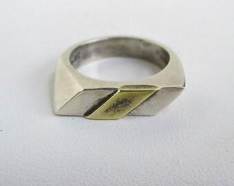 925 Sterling Silver Ring / Band - Vintage Mexico Modernist Design, Size 7 1/2