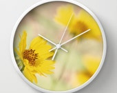 Flower Wall Clock - Yellow Flowers - Photo Clock - Preppy Decor - Abstract Clock - Nature Wall Clock - Yellow Home Decor