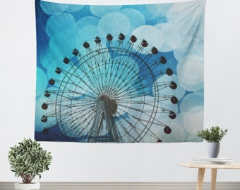 Royal Blue Tapestry - Hipster Tapestry - Ferris Wheel Photo - Tapestry - Bokeh Photography - Carnival Photograph - Dorm Art - Hipster Decor