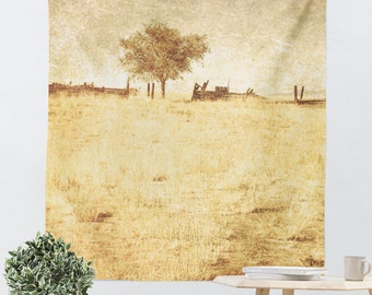 Rustic Tapestry - Tree Wall Hanging - Rustic Photography - Rural Photograph - Tan Home Decor - Yellow and Sage Green - Country Photo