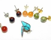 Four sets of studs earrings turquoise aventurine unakite natural stone silver gold