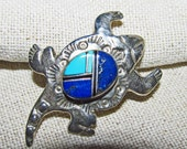 Native American Zuni sterling silver pin pendant horned lizard turquoise jet lapis lazuli