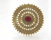 Indian Rajasthan style Brass Antique gold Mandala Round center stone ring US Ring size 7 Bohemian bride Gypsy Tribal jewelry by Inali