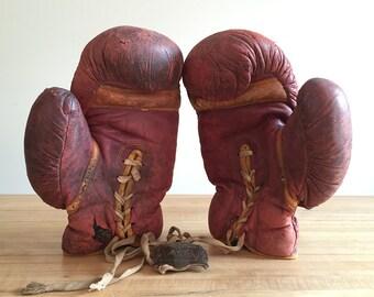 Vintage Spalding Golden Gloves Boxing Gloves with Golden Gloves Belt Buckle 1937