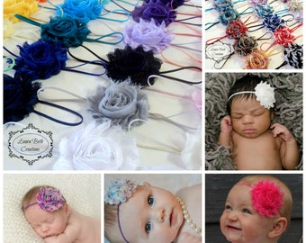 Headband Set, You Pick 10, Shabby Chic Rose Headband Set, Infant Headband, Newborn Headband, Children's Headband,Baby Girl