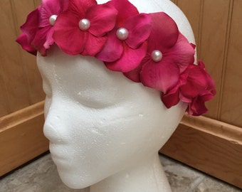 Hot pink hydrangea flower crown, hot pink flower headband, hot pink wedding, pink headband, hot pink flower