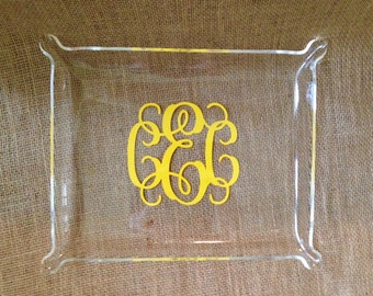 LARGE - Monogram Acrylic Tray - Jewelry Tray