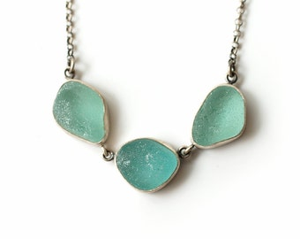 Simple Teal Pendant - English Sea Glass and Sterling Silver Necklace Bezel Set