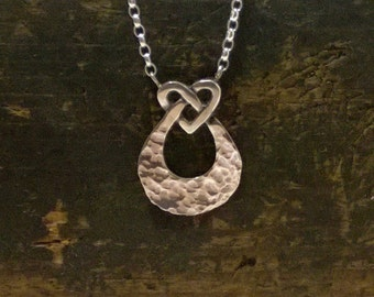 sterling silver love knot pendant, handmade