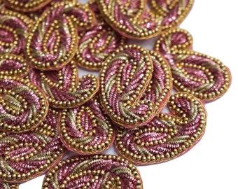 Craft Patch Supplies Designer Sewing Applique Decorative Royal Applique Dress Patch Bridal Applique Pink Beaded Applique By 22 Pcs SAP137